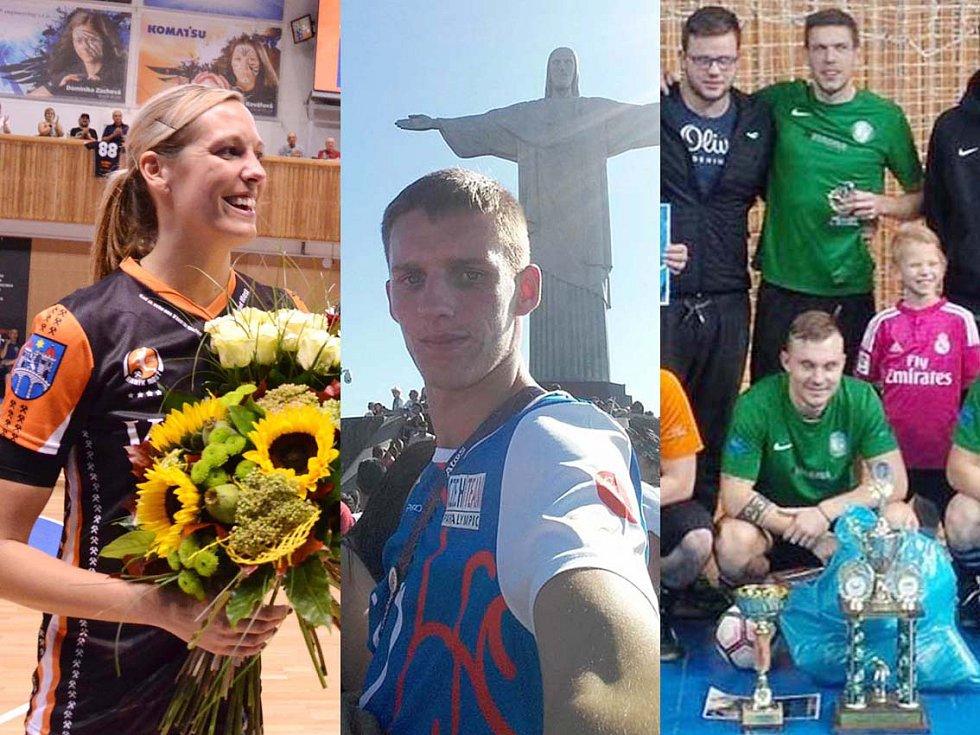 Zleva házenkářka Hana Martinková, atlet Daniel Hýna a mostečtí Gamblers.