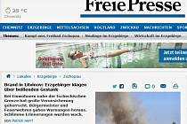 O požáru na skládce Celio na Mostecku psal v Německu list Freie Presse.