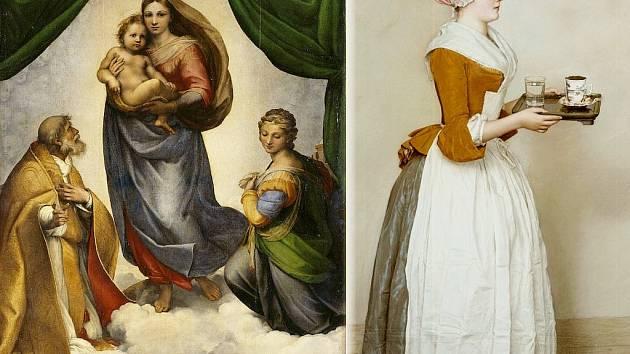 Slavné obrazy v Drážďanech.