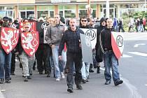 Demonstrace radikálů v Litvínově.