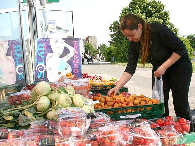 Mostečanka Michala Eliášová, vybírá ovoce v zelinářství v Business centru v Mostě. Okurky a rajčata prý nyní raději nekupuje.