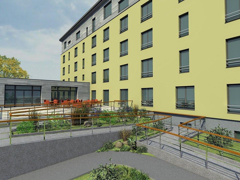 Studie bloku 60 v Mostě, rekonstrukce na domov pro lidi s demencí.