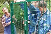 Stavba plotu kolem mosteckého penzionu.