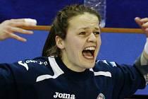 Brankářka Poruby Lenka Roháčková při prvním zápase play off. Emoce planou.