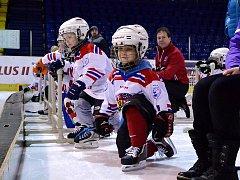 Nábor malých hokejistů na zimáku v Mostě.