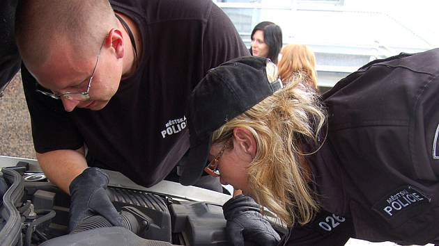 Do motorového prostoru auta mosteckých strážníků skočila kočka. Nemohli ji dostat ven.