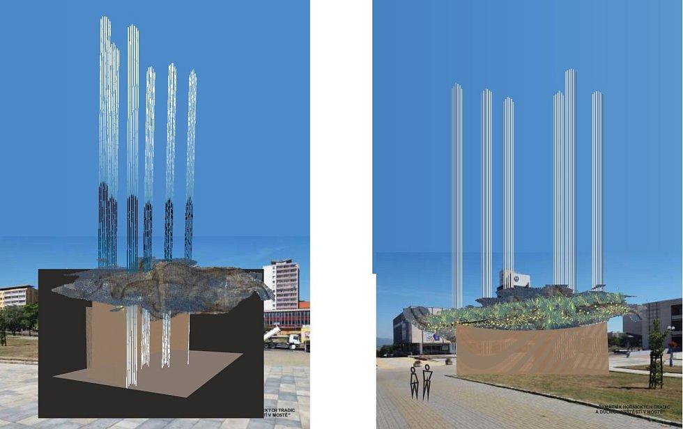 Vizualizace návrhů, které neuspěly v soutěži na Památník hornických tradic a důlních neštěstí v Mostě.