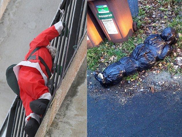 Vlevo není zloděj a vpravo není mrtvola. První věc je dekorace, druhá zřejmě dílo vtipálka.
