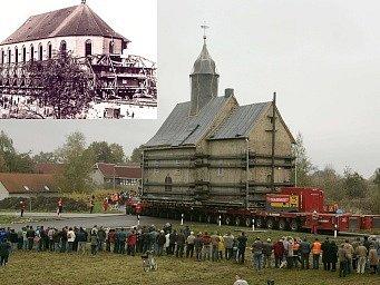 Přesun kostela v Německu. V levém rohu je historická fotografie přesunu kostela v Mostě.