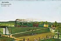 Slavnostní příjezd prvního vlaku do Mostu 8. října 1870 zachytil malíř H. Loss