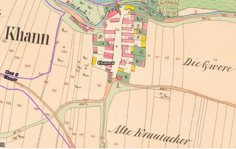 Víska Chanov na mapě v 19. století.