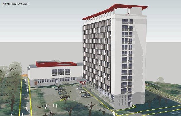 Návrh barevnosti fasády hotelu Domino vMostě na vizualizaci
