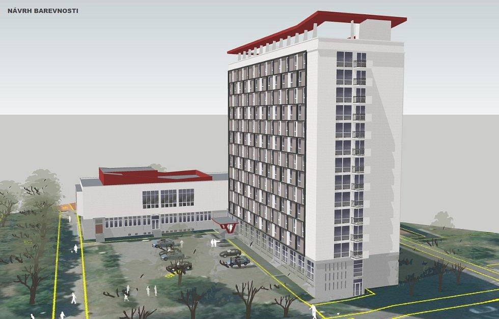 Návrh barevnosti fasády hotelu Domino v Mostě na vizualizaci