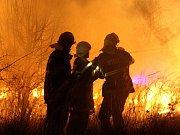 Hasiči likvidují rozsáhlý travní a lesní požár v okolí Lužic