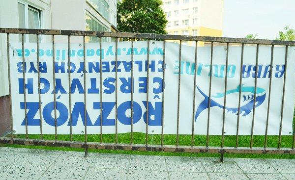 Autor využil reklamu na rozvoz ryb. Protiimigrační nápisy umístil na zadní stranu reklamy.