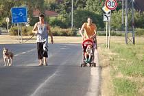 Chodci jdou po silnici ze Vtelna do Mostu po silnici, protože chodník chybí. Snímek je z července 2013.