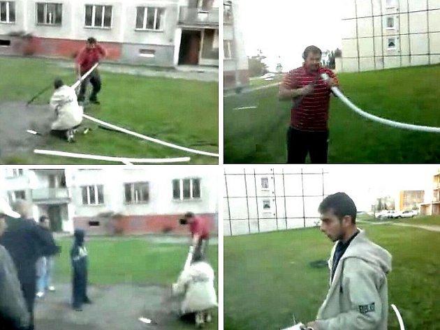 Zloději kovů na snímcích z videozáznamu.