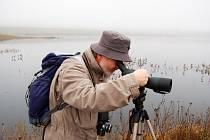 Ornitolog Jaroslav Bažant pozoruje u Jezera Most ptáky. Nový ekosystém fascinuje řadu českých vědců.
