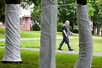 Muž prochází v Mostě kolem obalených stromů, u kterých se bude kopat a vyměňovat horkovod.