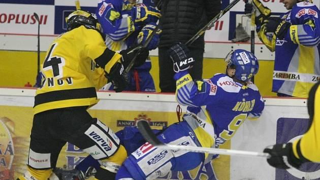 Litvínov (ve žlutém) získal se Zlínem bod.