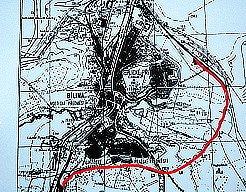 Červená linka na mapce značí plánovaný obchvat Bíliny. Povede kolem Újezdského a Pražského předměstí a na silnici č. 13 se napojí až za Bílinou.