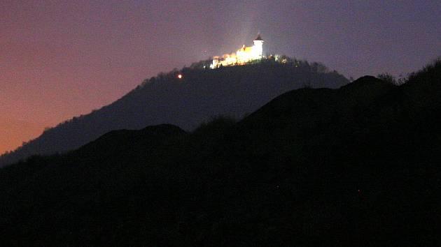 Hrad Hněvín, vyhlídkové místo nad Mostem.