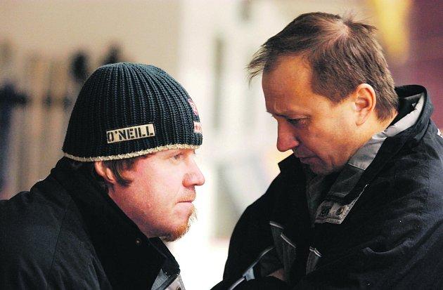 Petr Rosol (vlevo) a Vladimír Jeřábek stáli vedle sebe na litvínovské střídačce naposledy před sedmi lety.