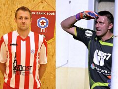 Vlevo je soušský kanonýr Štípek, vpravo brankář Litvínova Valeš. Kdo se bude v derby nakonec radovat?