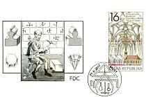 Poštovní známka s kostelem v Mostě a slavnostní razítko