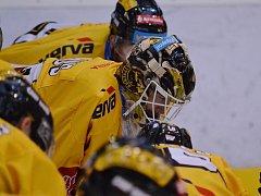 Brankář Jaroslav Janus se soustředí před zápasem s Olomoucí. Přispěl k výhře 2:1.