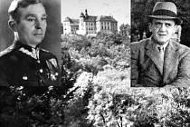 JEZEŘÍ A JEHO VĚZNI. Historický snímek zámku Jezeří a fotografie dvou jeho prominentních válečných zajatců. Maksimilian Ciezky (vlevo) a Gwido Langer.
