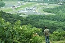 Autodrom, pohled z hradu Hněvín.