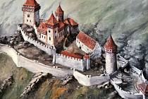 Obrázek krušnohorského hradu Rýzmburk. Takto vypadal v době největší slávy.