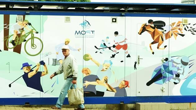 Reklama na sport v Mostě.