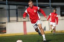 Kapitán české reprezentace do 21 let mostecký Lukáš Haspra.
