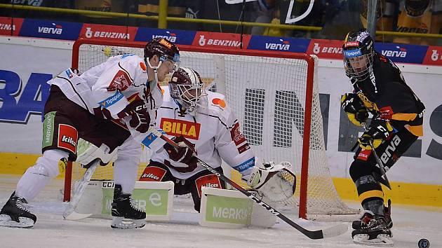 Sobotní zápas Litvínova se Spartou. Pražané v sobotu vyhráli 2:0. Dnes se zase dařilo Litvínovu.