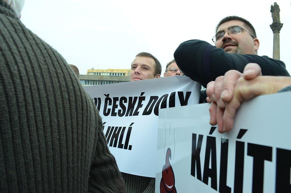 Mostecký volební mítink ČSSD s demonstrací horníků