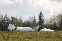Nehoda letadla na mosteckém letišti, při které zahynuli dva piloti.