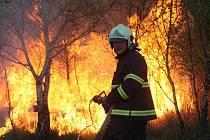 Hasiči bojují s vysokými plameny v Kopisetech