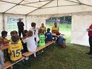 Malí fotbalisté na kempech Okresního fotbalového svazu.