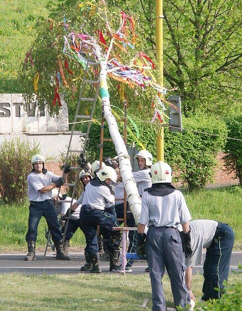 Dobrovolní hasiči staví v Meziboří májku.