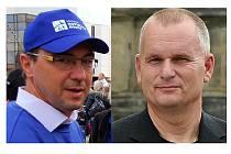 Dvojvládí v Severočeších.cz, vlevo předseda hnutí Luboš Pitín, vpravo předseda hnutí Bronislav Schwarz.