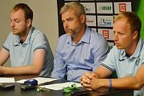 Vedení Fotbalové akademie J. Masopusta zleva Radek Listopad, Anton Stehlík a Vít Raszyk.