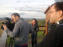 Natáčení na Mostecku, na vyhlídce u šachty Vršany.