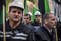 Demonstrace horníků z OKD loni v září.