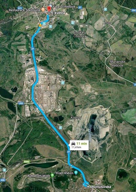 Mapka ukazuje úsek tramvajové tratě Most - Litvínov, který se má modernizovat.