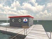Zázemí pro vodní záchranáře na jezeře Most.
