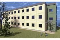 Vizualizace modulového objektu pro bydlení v Chanově, takzvaný kontejnerový dům.