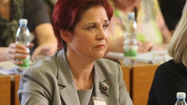 Jaroslava Boudová v dubnu 2014, kdy zastupitelstvo odvolalo primátora Vlastimila Vozku.
