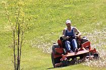 Muž seká trávu na hipodromu. Areál má být oblíbenější výletní zónou Mostečanů.